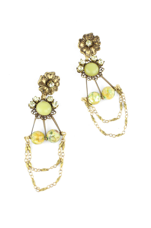 Jan Michaels Floral Flash Earrings - Moss Agate