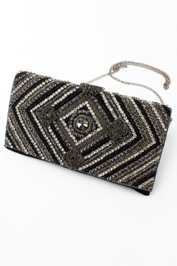 Jyo Jet & Crystal Deco Evening Clutch