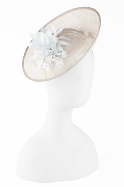 Kathy Jeanne Sinamay Fascinator with Silver Flowers