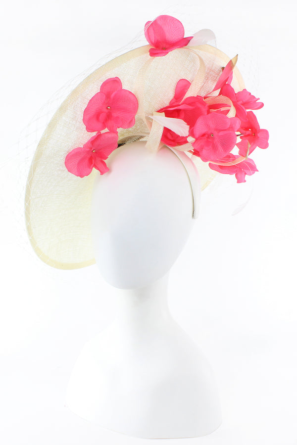F&M Large Saucer Sinamay Fascinator