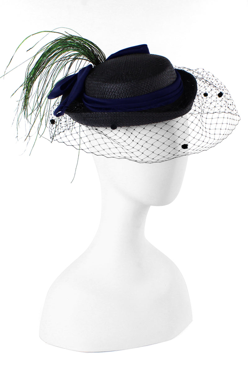 Kathy Jeanne Straw Hat with Silk Bow and Peacock Feathers