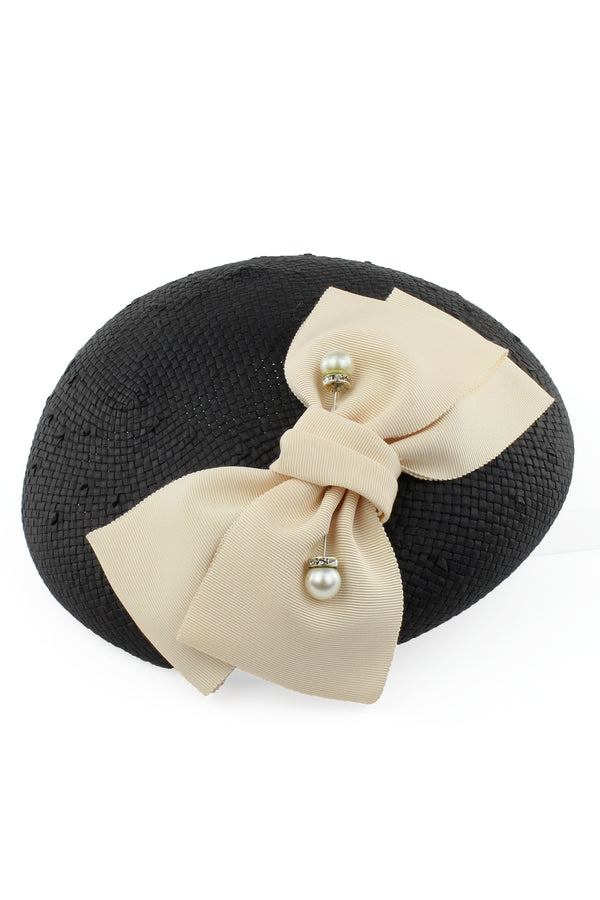 Kathy Jeanne Fascinator with Bow and Pearl Pick