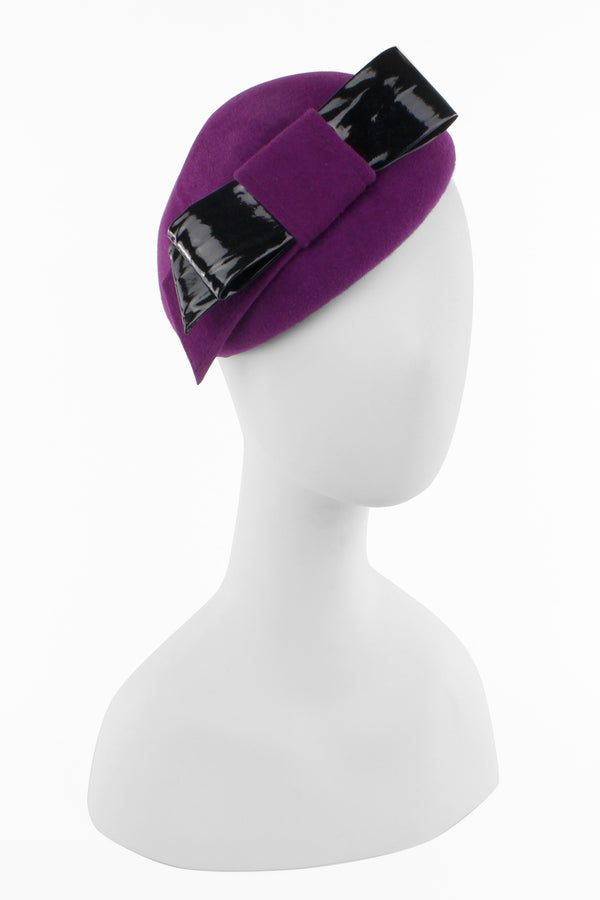 Kathy Jeanne Cocktail Hat with Patent Leather Bow