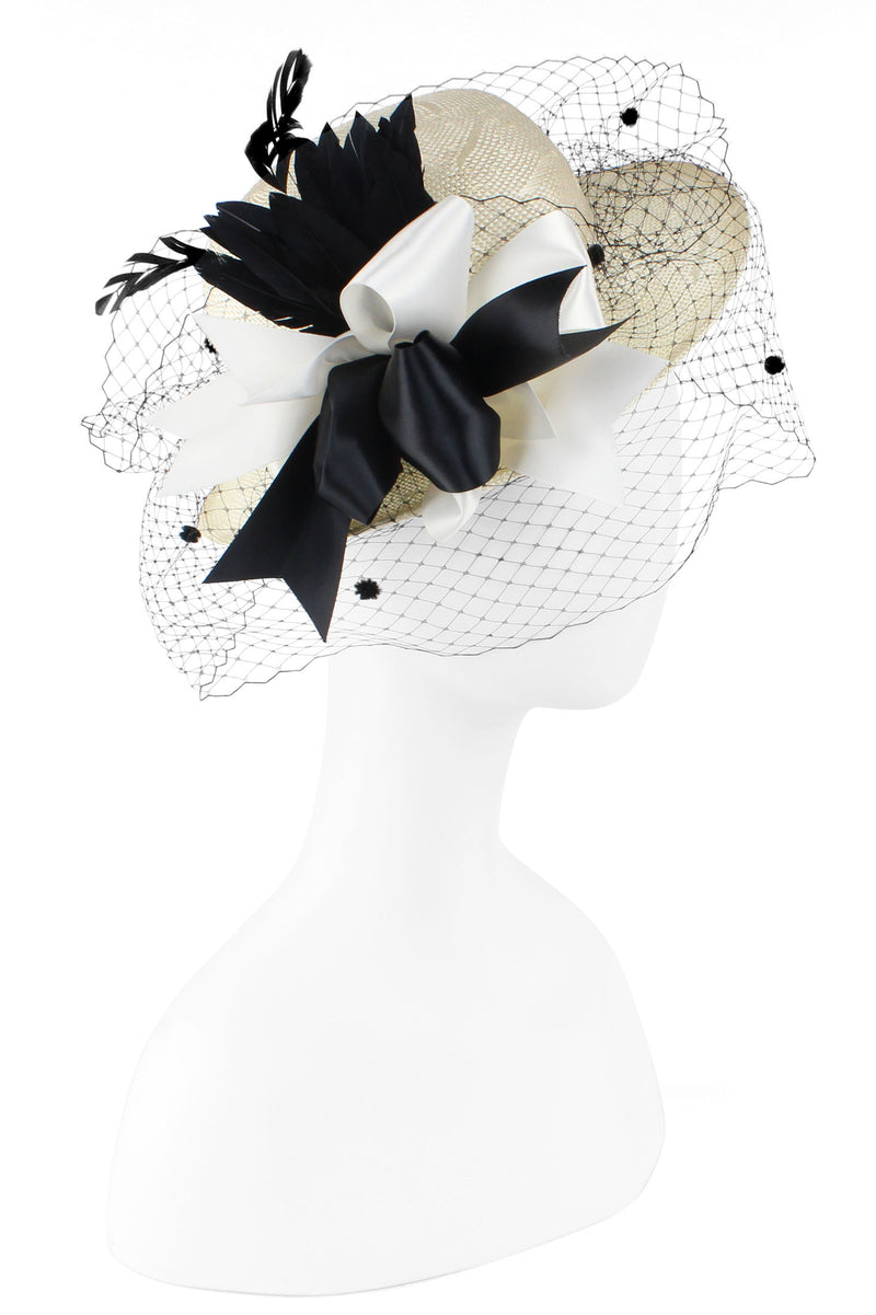 Kathy Jeanne White Straw Hat with Black and White Bow and Pom Netting