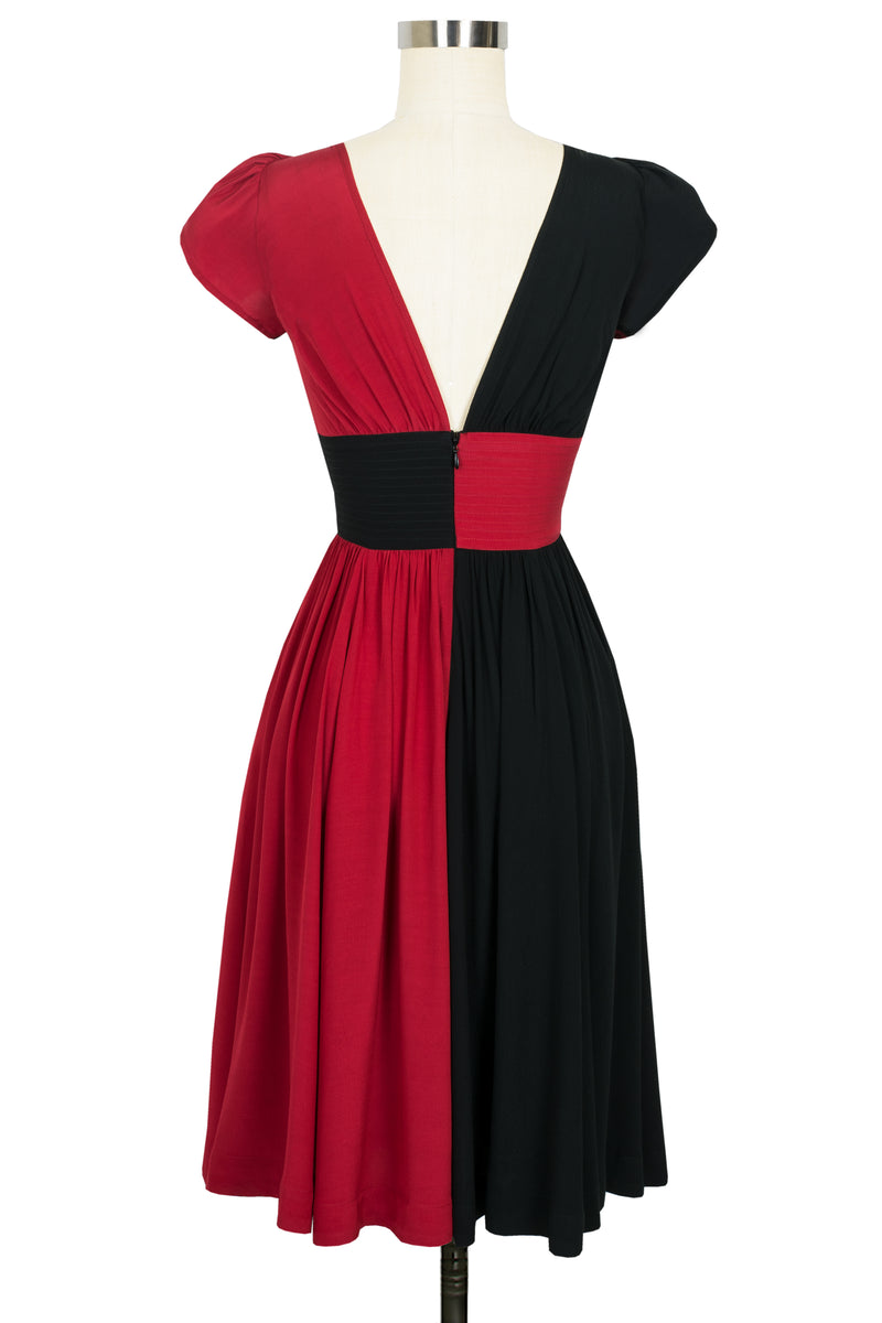 Loretta Dress - Red & Black Color Block - Final Sale
