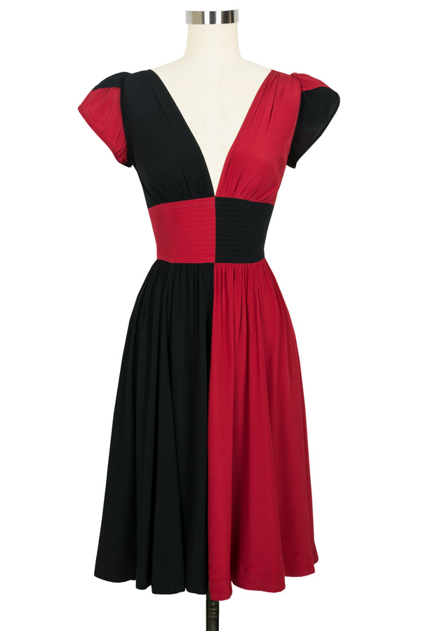 Loretta Dress - Red & Black Color Block