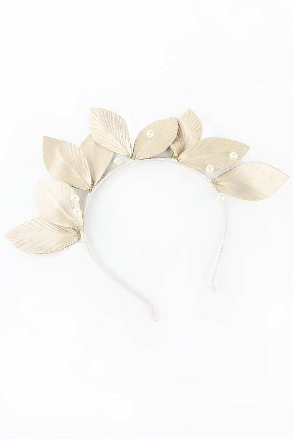 Metallic Beige Leaves Headband