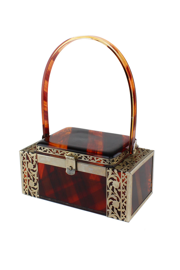 Translucent Tortoise Stripe & Filigree Vintage Tyrolean Lucite Bag