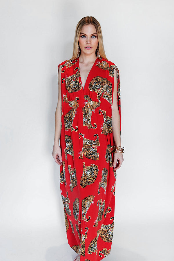 1970's inspired Leopard caftan perfect for cocktails at Modernism Week in Palm Spring or your next Tiki Event