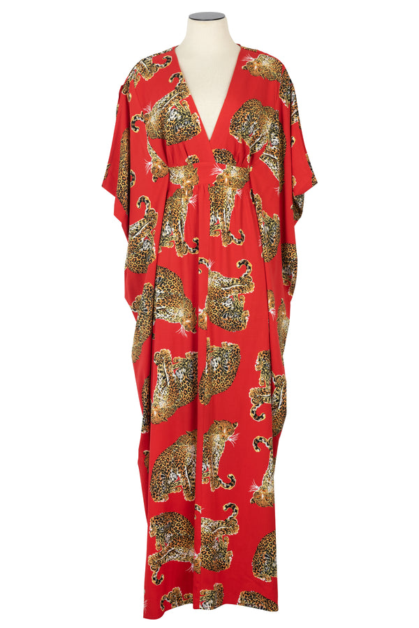 1970's inspired red Leopard caftan perfect for cocktails at Modernism Week in Palm Spring or your next Tiki Event