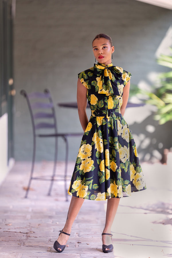Bow Tie Marie Dress - 1959 Floral
