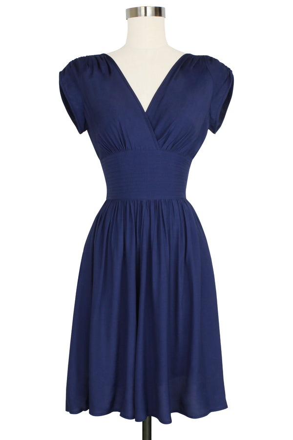 Sandra Dress - Navy Rayon