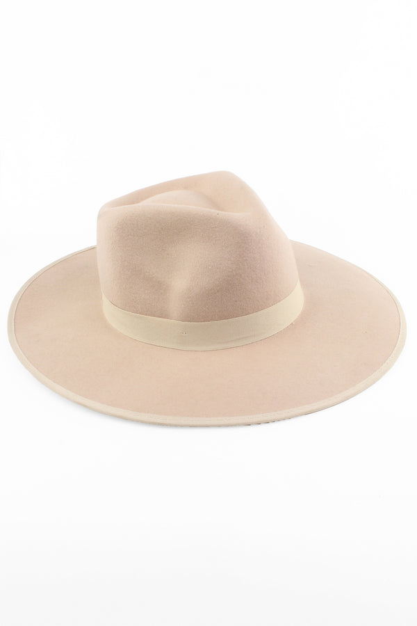 Flat Brim Wool Fedora Hat with Piping Trim