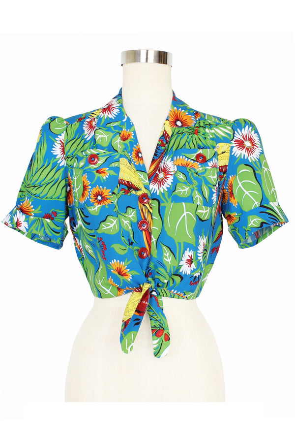 Pinup Pocket Top - Jungle Parrots