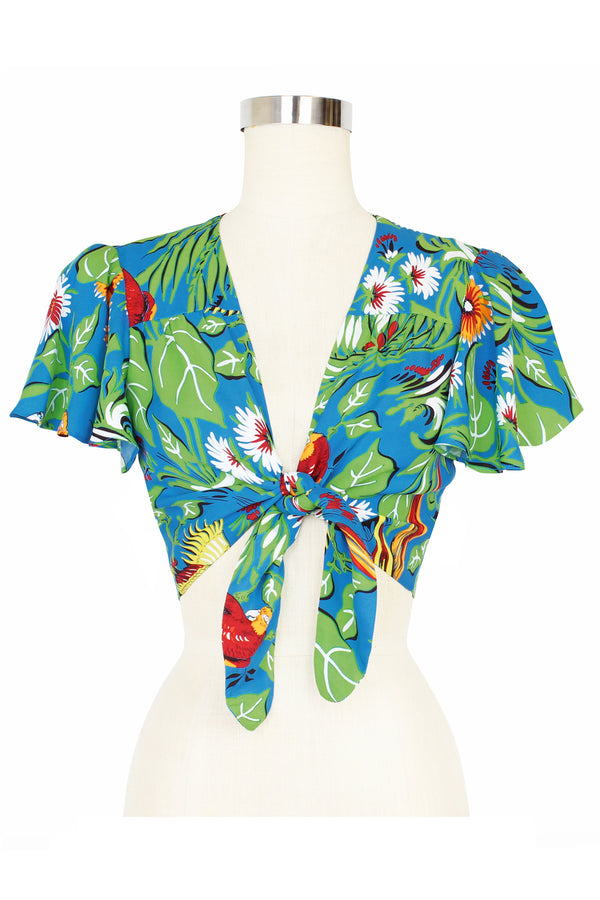 Camilla Tie Top - Jungle Parrots