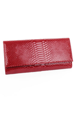 Snakeskin Patent Leather Clutch - Red