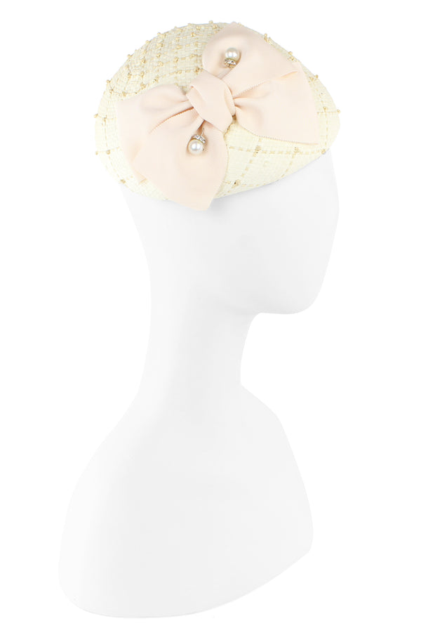 Kathy Jeanne Fascinator with Bow and Pearl Pick - Ivory