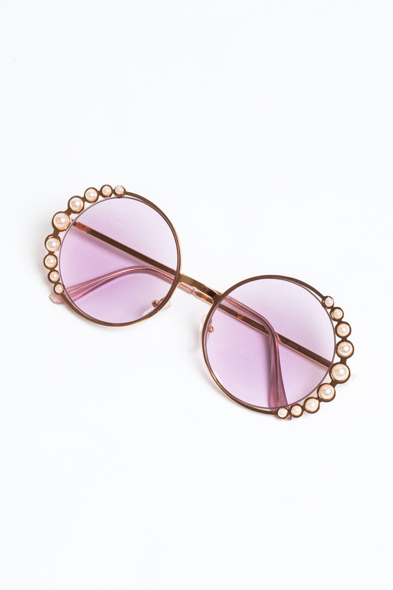 Pearly Embellished Round Sunglasses