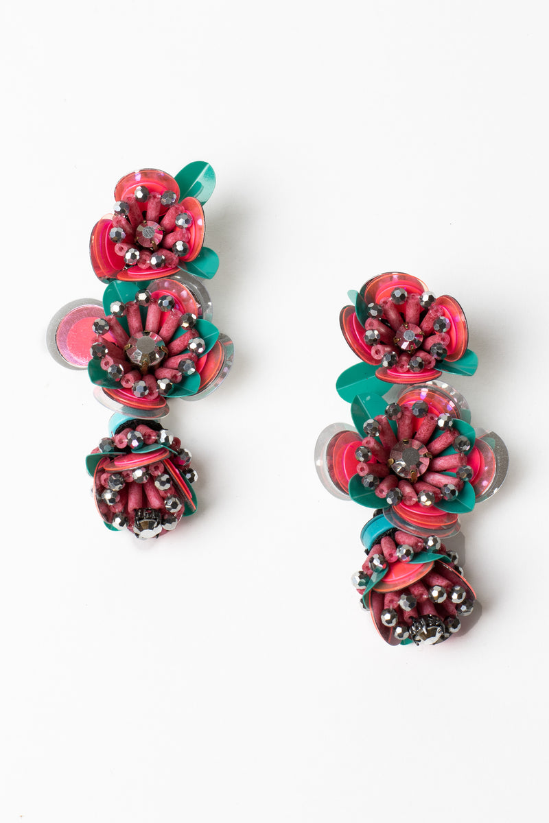 Sequin Flower Drop Earrings
