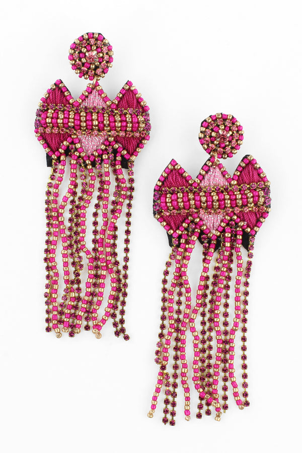 Pink Bead and Crystal Tassel Earrings