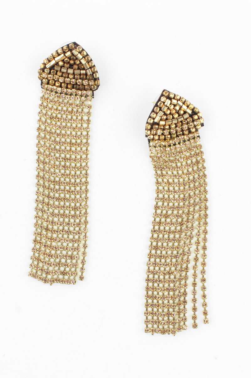 Gold Bronze Bead and Crystal Tassel Earrings