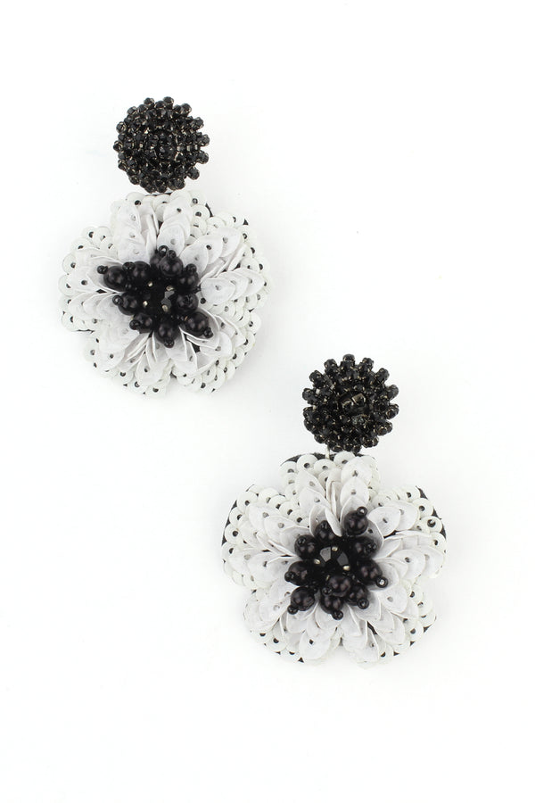 Black and White Sequin Flower Drop Earrings