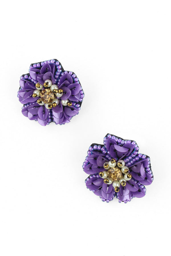 Sequin Beaded Purple Flower Earrings