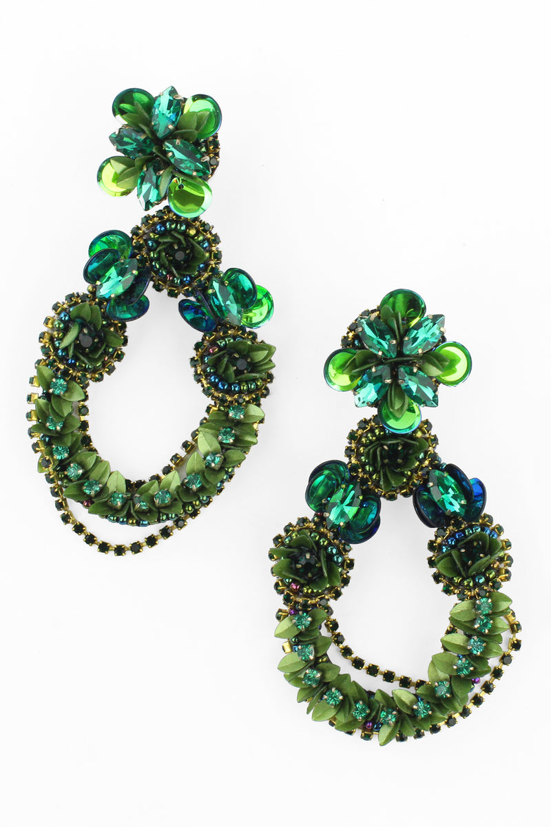 Green Jeweled Floral Teardrop Earrings