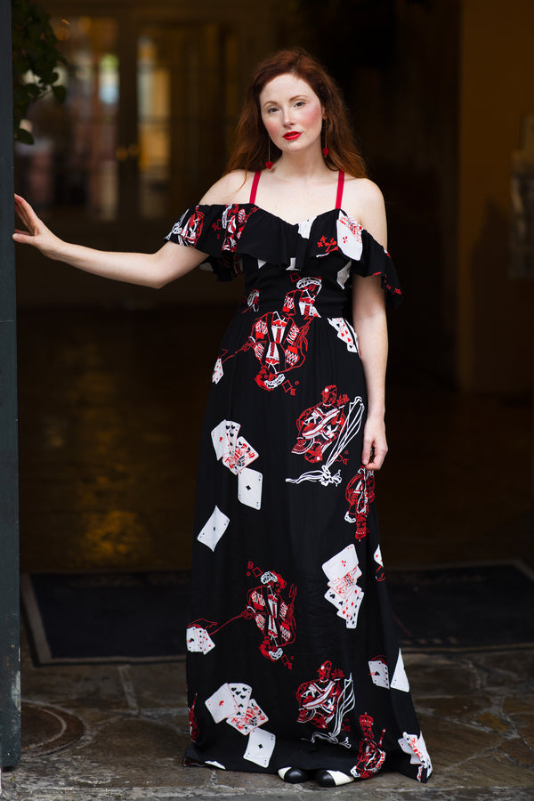 Hollywood Classic Long Dress - Queen of Hearts - Final Sale