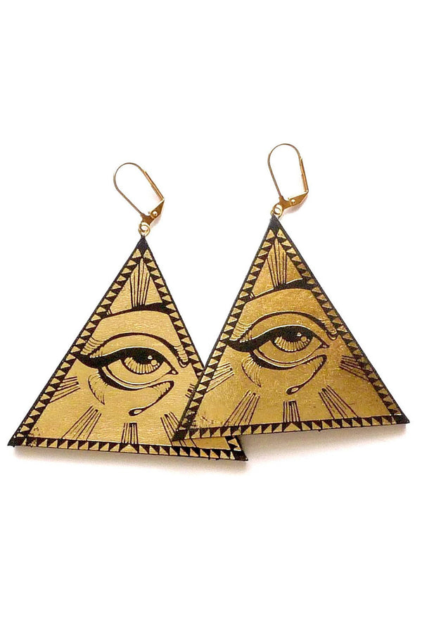 Rosita Bonita All Seeing Eye Pyramid Earrings