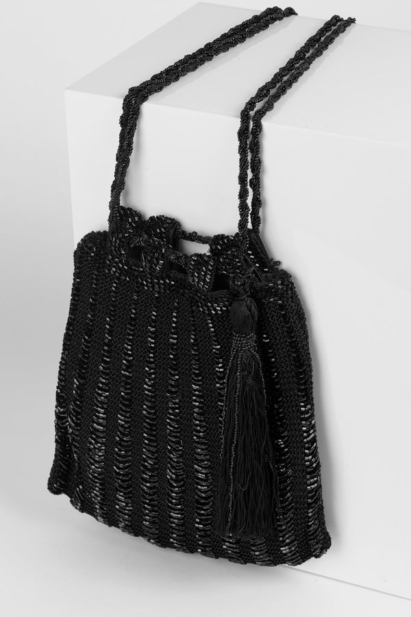 RD Crochet Beaded Tassel Bag Black