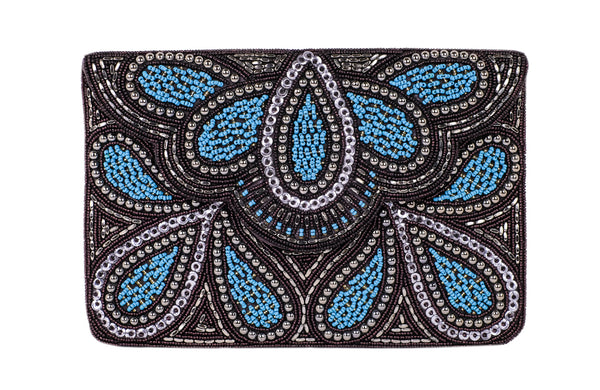 RD Turquoise Beaded Clutch