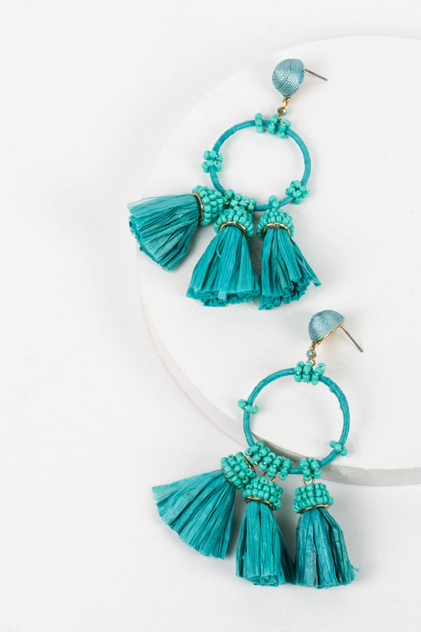 Raffia Tassel & Circle Earrings