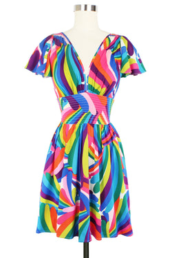 Deep Cut Camilla Mini Dress - Rainbow Bright