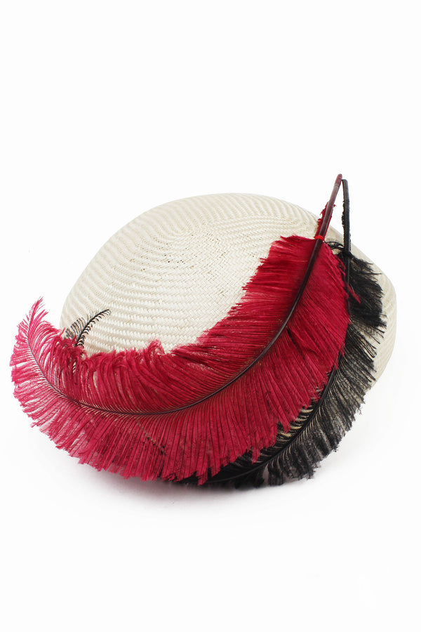 Kathy Jeanne  Straw Hat with Red & Black Feathers