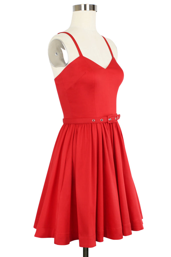 Ruby Mini Dress - Red Stretch Cotton
