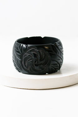 Rose Carved Faux Bakelite Bangle