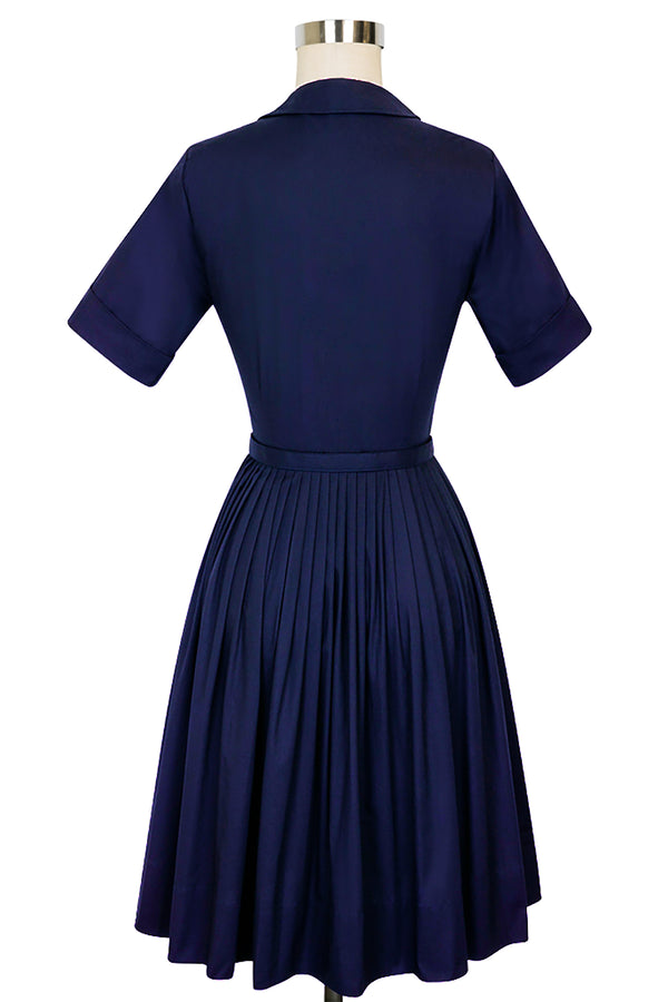 Virginia Dress - Navy Poplin
