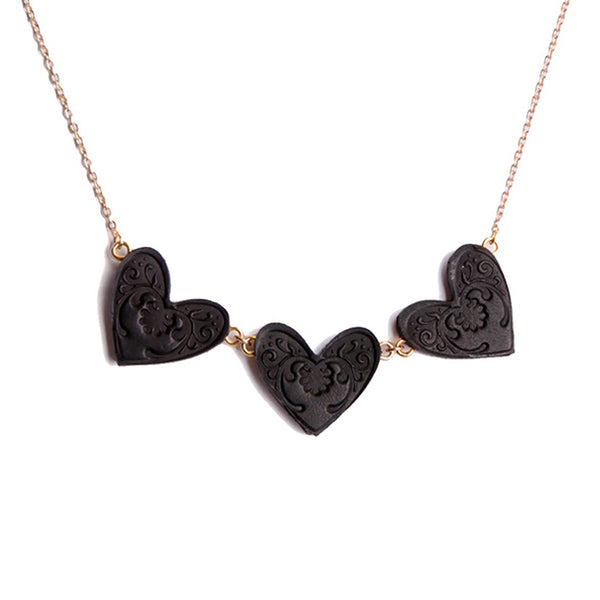 Rosita Bonita Sweet Black Heart Triplet Necklace