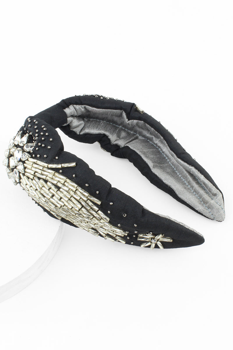 Black and Silver Beaded Jeweled Comet Headband