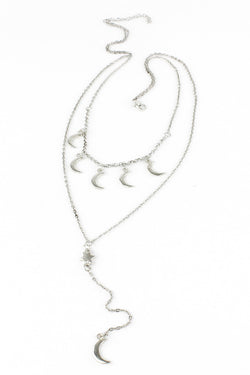 Celestial Silver Moons and Star Dangle Layered Necklace