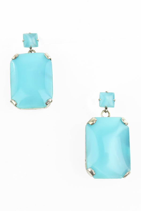 De Luxe Aqua Rectangle Drop Earrings