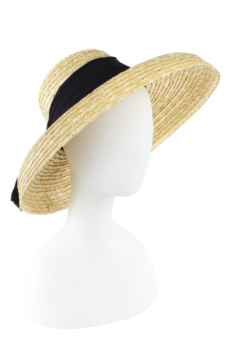 Straw Bell Brim Hat with Grosgrain Ribbon