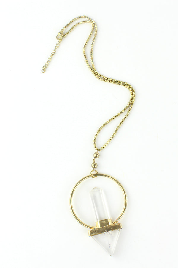 Circle and Dagger Clear Quartz Pendant Neckalce