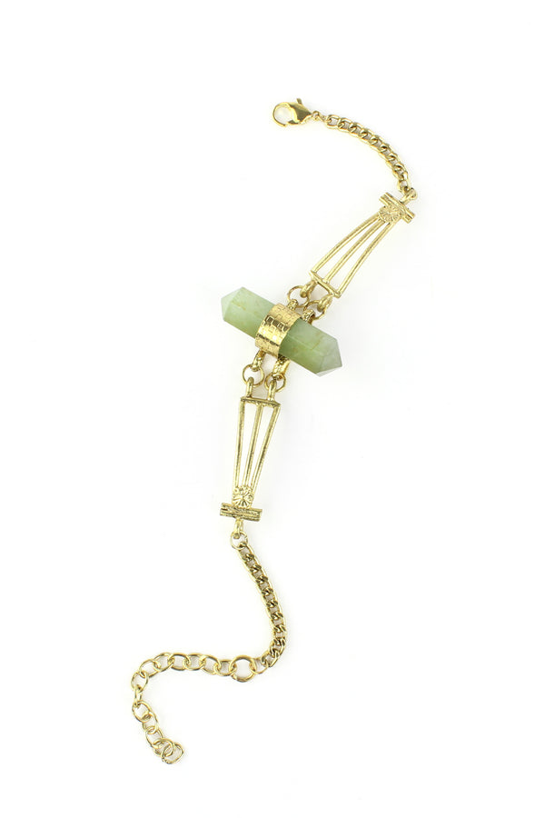 Gold Metal & Adventurine Chain Bracelet