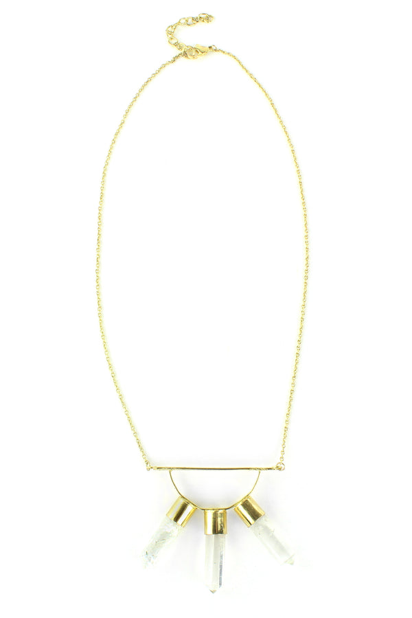 Triple Clear Crystal and Gold Bar Necklace