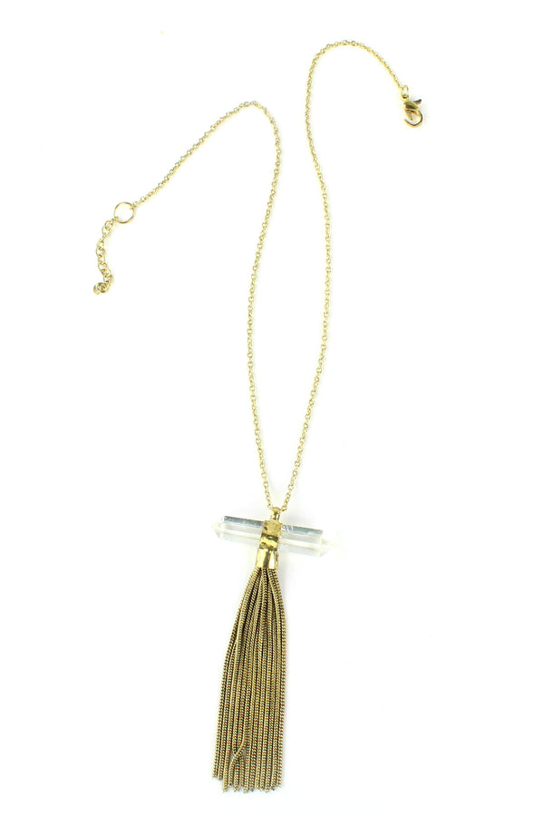 Antique Gold Crystal & Chain Tassel Necklace