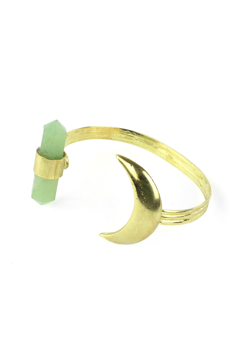 Mystical Gold Moon and Adventurine Cuff