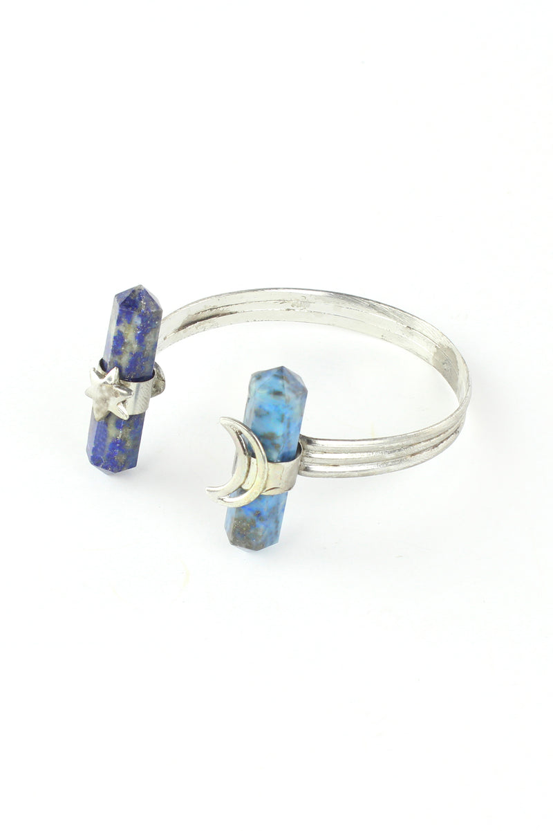 Magical Moon and Star Lapis Cuff Bracelet