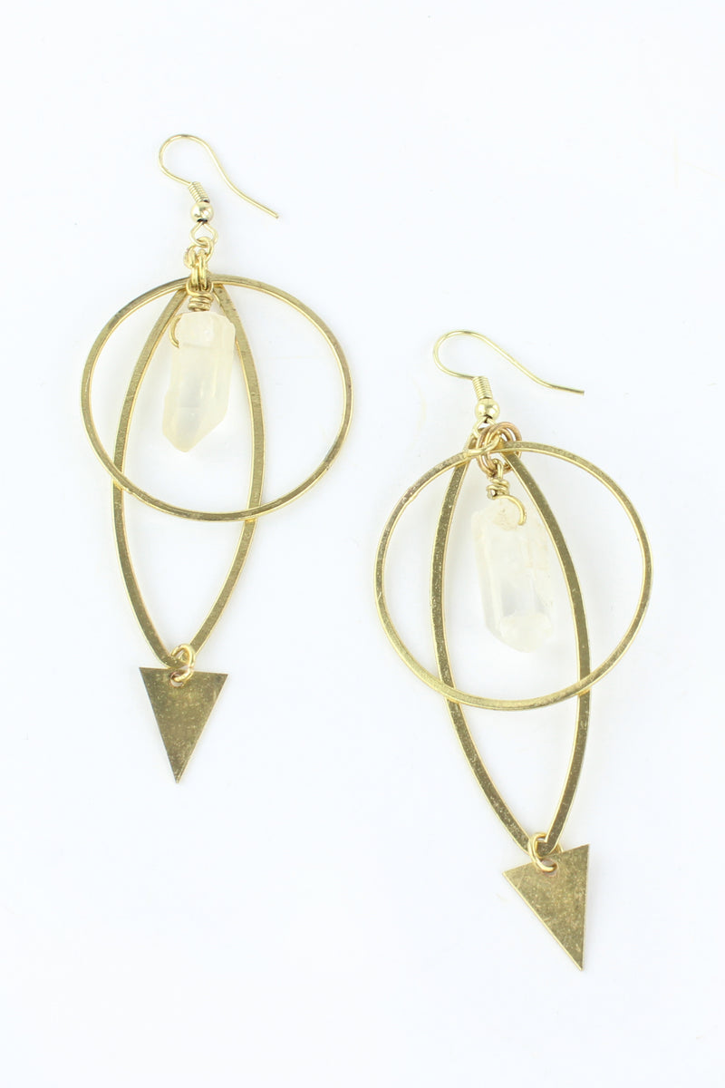 Gold Circle Natural Quartz Drop Earrings